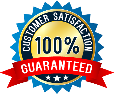 customer satisfaction 100% guaranteed written on a badge