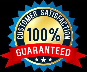 customer satisfaction 100% guaranteed written on a badge